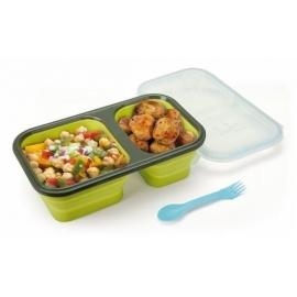 Porta alimentos con 2 cuerpos, PLEGABLE e higiénico de silicona 750ml.