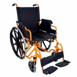 Silla de ruedas plegable y autopropulsable   Alegre color naranja   Ancho de asiento 46 cm   Mod. Giralda   Mobiclinic