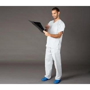 Pijama unisex, cuello de pico y abertura lateral, blanco - OUTLET -