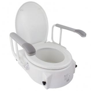 Elevador inodoro | Con tapa | Regulable en altura | Alzador WC | Inclinable y reposabrazos abatibles | Muralla | Mobiclinic