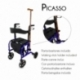 Andador y silla de ruedas | Aluminio | Plegable | Freno en manetas | Asiento y respaldo | 4 ruedas | Azul | Picasso | Mobiclinic - Foto 2