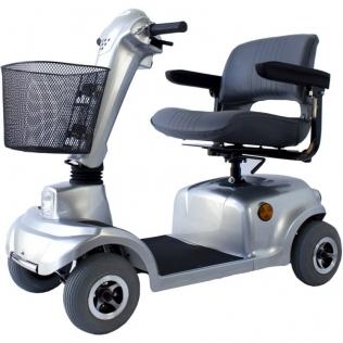 Scooter eléctrico 4 ruedas para minusválidos | Asiento giratorio y plegable | Auton. 34 km | 12V | Gris | Piscis | Mobiclinic