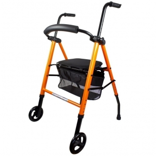 Andador para ancianos   Aluminio   Plegable   Asiento y respaldo   2 ruedas   Cesta   Naranja   Nerón   Mobiclinic