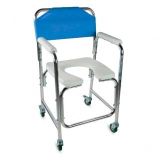 Silla para WC | Reposabrazos | Aluminio | Ruedas | Azul | Manzanares | Mobiclinic