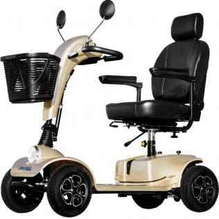 Scooter para ancianos de 4 ruedas neumáticas | Asiento regulable | Toma USB | Asiento Deluxe | Modelo Cruiser| Color champagne