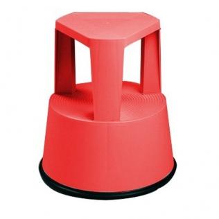 Taburete escalera con ruedas retráctiles, color rojo