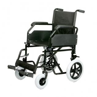 Silla de ruedas plegable de acero 45m con reposabrazos y reposapiés extraíbles regulable en altura