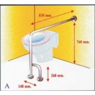 Barra de seguridad asidero para baño en L | acero inox.