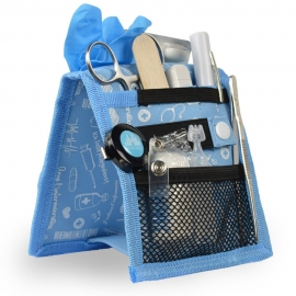 Organizador auxiliar de enfermería| Para bata o pijama | estampados en azul | Keen's de Mobiclinic | Elite Bags