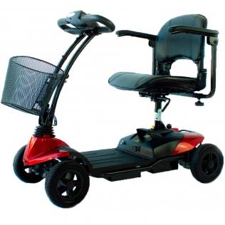 Scooter eléctrico para adultos | Auton. 10 km | 4 ruedas | Compacto y desmontable | 12V | Rojo |Virgo | Mobiclinic