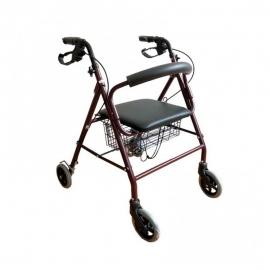 Andador ortopédico | Plegable | Frenos de maneta | 4 ruedas | Asiento y respaldo | Burdeos | TURIA | Clinicalfy