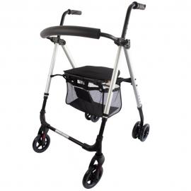 Andador plegable | Aluminio | Asiento y respaldo | Frenos por presión | 4 ruedas | Premium | Dehesa | Mobiclinic