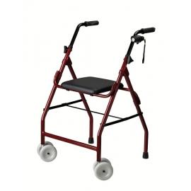 Andador para ancianos | Aluminio | Plegable | Asiento | 2 ruedas | Burdeos | Mini Roler