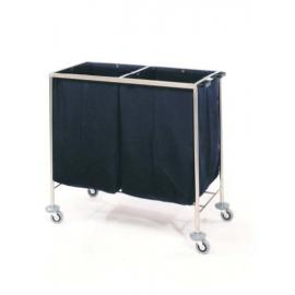 Carro ropa sucia | Doble | Acero inoxidable | Asideros laterales | 4 ruedas |2 frenos | Mobiclinic