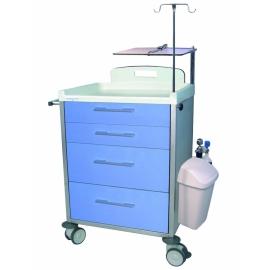 Carro hospitalario 4 cajones, dos pequeños y dos medianos con accesorios