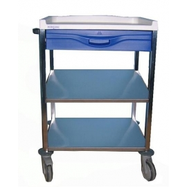 Carro hospitalario | 1 cajón superior 110mm y estante intermedio | Azul | Mobiclinic