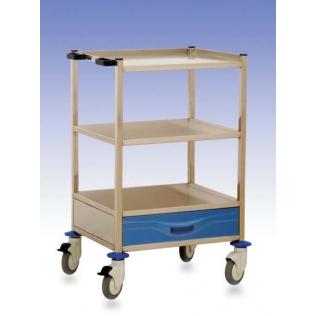 Carro hospitalario | 1 cajón inferior y estante | polietileno