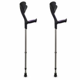 Muletas Advance 2 uds con puño anatómico de goma | Bastón canadiense ortopédico |Color morado | Aluminio, monoplástico
