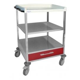 Carro hospitalario 1 cajón inferior pequeño 110mmy estante inetermedio.