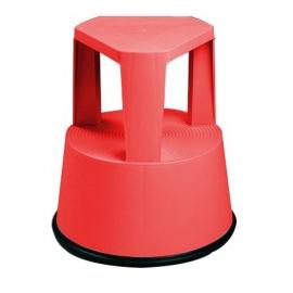Taburete con ruedas retráctiles | Base antideslizante | Color rojo | Polipropileno