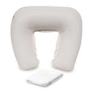 Almohada cervical de viaje hinchable | forma de herradura y funda