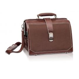 Maletín médico | De piel y poliamida marrón | TREND'S | Elite Bags