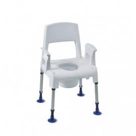 Silla de baño modular con inodoro y ventosas en las patas | Respaldo y reposabrazos
