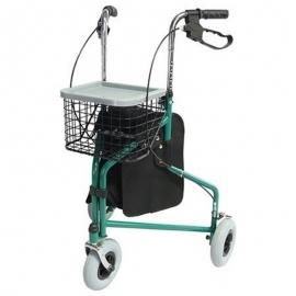 Andador para ancianos | Plegable | Freno en manetas | 3 ruedas | Cesta | Verde | Caleta | Mobiclinic