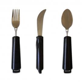 Pack de tenedor, cuchillo y cuchara ergonómicos   Ángulo ajustable   Acero inoxidable   Mobiclinic