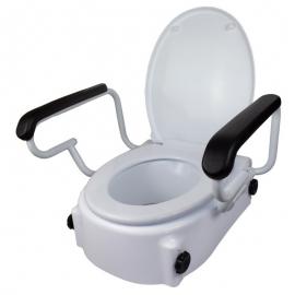 Elevador WC | Con tapa | 17 cm | Regulable | Inclinable | Reposabrazos abatibles | Blanco | Tajo | Mobiclinic