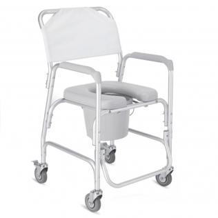 Silla para ducha | Con inodoro | Con ruedas | Aluminio | Móvil