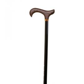 Bastón extensible   Aluminio   Con puño de madera   Color negro