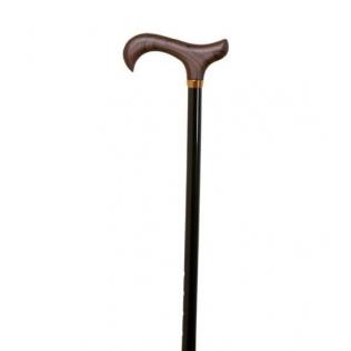 Bastón extensible | Aluminio | Con puño de madera | Color negro