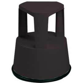 Taburete escalera con ruedas retráctiles | Base antideslizante | Color negro | Polipropileno
