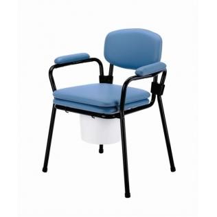 Silla inodoro de acero   asiento provisto de cojín   cubeta inodoro con tapa   Azul