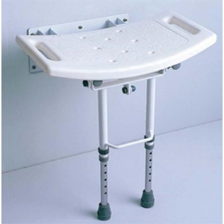 Asiento de ducha para pared | Aluminio | Abatible | Altura regulable | Con patas
