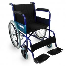 Silla de ruedas | Plegable | Ruedas grandes | Ligera | Ortopédica | Azul | Alcázar | Mobiclinic