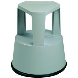 Taburete escalera con ruedas retráctiles | Base antideslizante | Color gris | Polipropileno