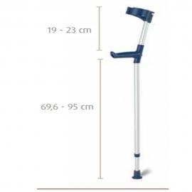Bastón inglés muleta de aluminio con codera articulada y altura regulable | Color azul