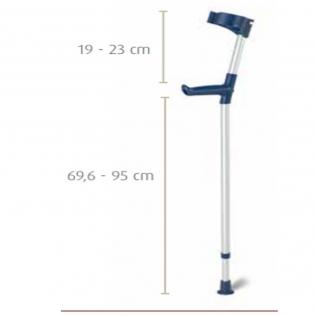 Bastón inglés muleta de aluminio con codera articulada y altura regulable   Color azul