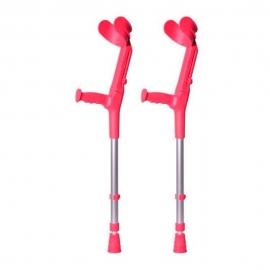 Pack 2 bastones ingleses infantiles | Birregulable | Aluminio | Rojo coral | BCR-N | FORTA