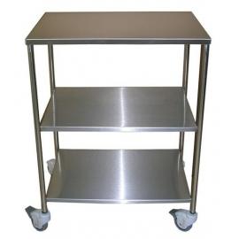 Mesa auxiliar | 3 estantes | Acero inoxidable | 4 ruedas | 2 Frenos | 2 Asideros laterales | Mobiclinic