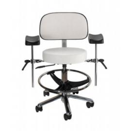 Taburete base alumunio cromado asiento respaldo,apoyabrazos y aro apoyapiés, ruedas