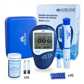 Kit completo de glucómetro digital | Función memoria | Medidor de glucosa en sangre | Mobiclinic