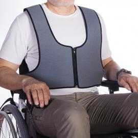 Arnés chaleco de sujeción con cremallera tipo peto para silla de ruedas y de descanso