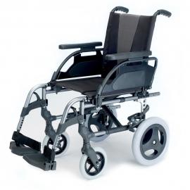 "Silla de ruedas Breezy Style (antigua 300) de aluminio en color gris selenio con rueda pequeña de 12"""