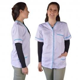 Bata profesional para mujer con manga corta y ribetes azules