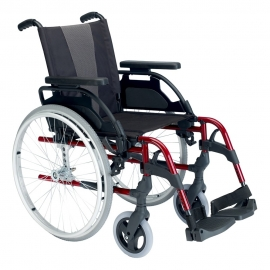 """Silla de ruedas Breezy Style (antigua 300) de aluminio en color rojo con rueda de 24"""""""