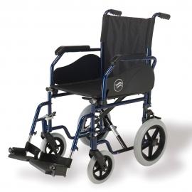 """Silla de ruedas Breezy 90 ruedas pequeñas 12"""" , de acero, con reposapiés abatibles y desmontables. Color Azul"""