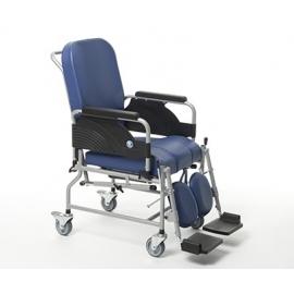 Silla ruedas fija con respaldo reclinable y asiento con inodoro. Rueda de 100 mm